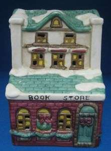 Dickens Christmas Village Book Store Lighted Building