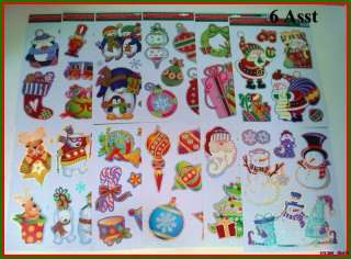Christmas Window Clings Decoration 6 Piece #684 NEW