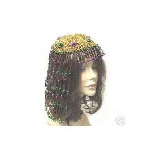 Gold Metallic Beaded Mardi Gras Cleopatra Costume Wig Toys & Games