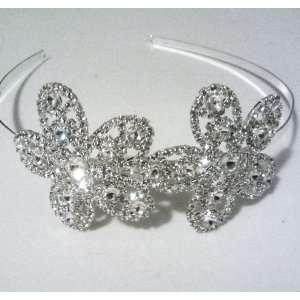 Wedding Headband Bridal Rhinestone Double Side Flower Hair