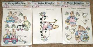 Lot of 3 New Daisy Kingdom Iron On Color Transfers Playtime Pals
