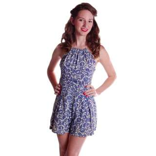 Vintage Swimsuit Blue Printed Cotton Playsuit Ladies 1930S