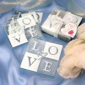 LOVE Glass Coaster Set of 4