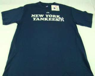 Mens Majestic MLB New York Yankees T Shirt Block Navy any size S M L