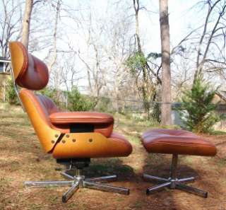 LEATHER LOUNGE CHAIR AND OTTOMAN MID CENTURY MODERN SELIG EAMES