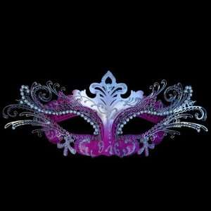 Hot Pink & Silver Decorative Metal Venetian Mask
