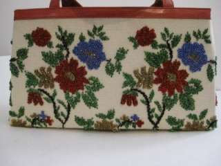Vintage, NEW, NICOLE MILLER, heavily beaded and red leather, floral