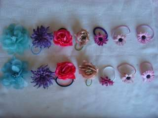 Pick your color pair of elastic flower hair scrunchies