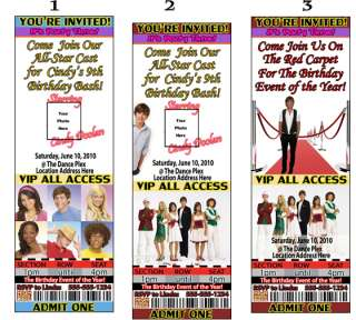 High School Musical Birthday Party Ticket Invitations