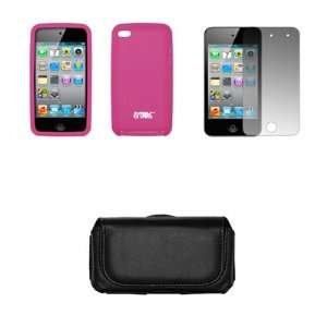 Apple Ipod Touch 4 Black Leather Carrying Case + Hot Pink Case