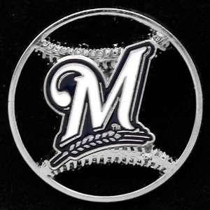 : Milwaukee Brewers Team Logo Cut Out Baseball Pin: Sports & Outdoors