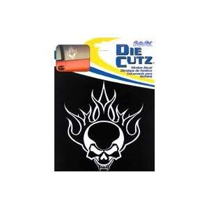 Flaming Skull Die Cutz   White Decal Automotive