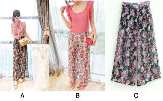 Ladies Floral Print Chiffon Palazzo Trousers Wide Leg Flared Pants One