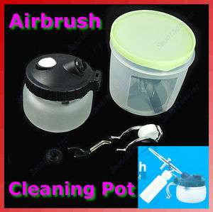 Cleaner Air Brush Clean Pot Jar Cleaning Station Bottles Holder Set