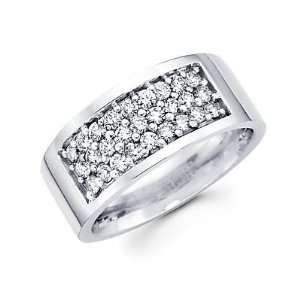 Size  12   14k White Gold Mens Round Diamond Wedding Ring Band 1.09 ct