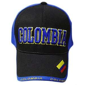 BLUE BLACK BASEBALL CAP HAT EMBROIDERED ADJ