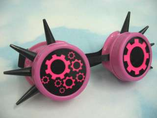 UV Hot Pink Steampunk Goggles Cyber Goth Gears Rave Accessories Black