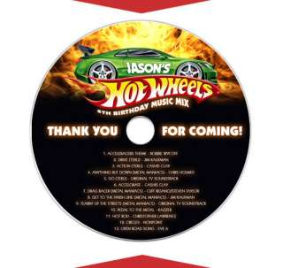 HOT WHEELS Personalized Birthday Party Favors CD LABELS