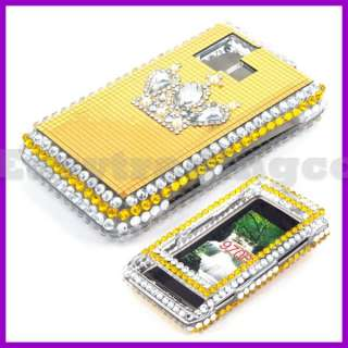 Crystal Bling Case Cover for LG VX9700 Dare Gold Crown