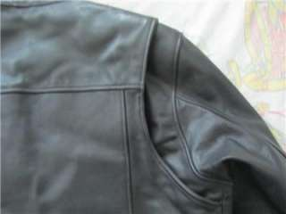 MENS BLACK LEATHER HARLEY DAVIDSON MOTORCYCLE JACKET SIZE L LARGE