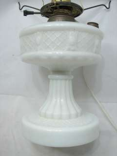 VINTAGE ORNATE ELECTRIFIED MILK GLASS VICTORIAN OIL LAMP LIGHT