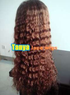 Long 100% Human Hair Indian Remy LACE wigs Deep Wave front / full lace