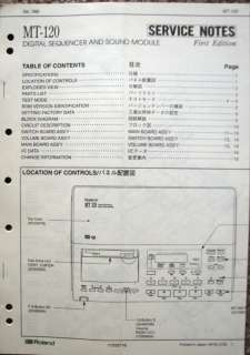 Original Service Manual for the Roland MT 120 Sequencer Module.