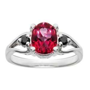 1.55 Ct Ruby Red Topaz & Black Diamond .925 Silver Ring