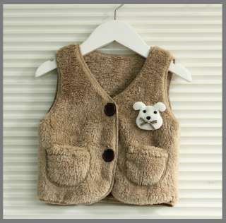Baby Toddler Winter warm fur vest Brown(Size 2T~5T) Girls Boys