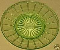GREEN DEPRESSION GLASS SHERBET PLATES RIBBON PATTERN