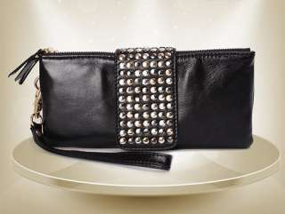 2012 Evening Designer PU Leather Rivet Lady Girls Clutch Purse Wallet
