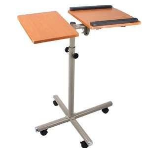 Rolling Mobile Laptop Table Desk Stand Cart(Mahogany