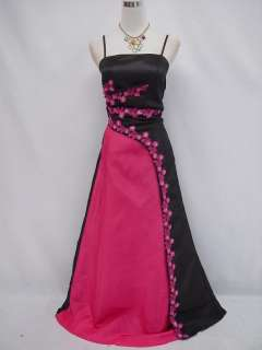 Plus Size Satin Black Lace Ball Gown Prom Wedding/Evening Dress 20 22