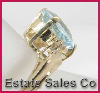 14kyg Blue Topaz and Round Diamond Gemstone Ring 5.30ct