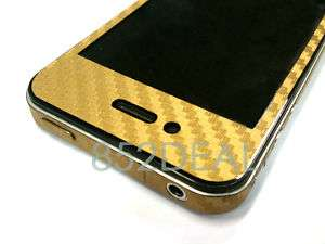 iPhone 4 Di Noc Carbon Fibre Vinyl Skin Sticker   GOLD