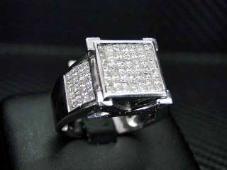 MENS DIAMOND RING 14K WHITE GOLD ROUND CUT PRINCESS CUT INVISIBLE