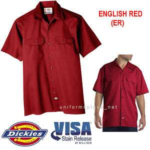 Dickies Mens SHORT SLEEVE Work Shirt Nwt S   5XL E. RED