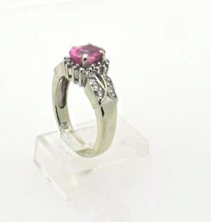 14k White Gold Engagement Pink Sapphire Diamond Ring size 6.5