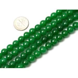 8mm round gemstone green jade beads strand 15 Jewelry