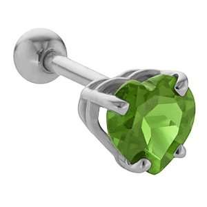 5mm Peridot Heart Cut 14K White Gold Cartilage Stud Earring Jewelry