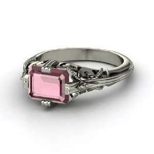 Acadia Ring, Emerald Cut Rhodolite Garnet 14K White Gold Ring Jewelry
