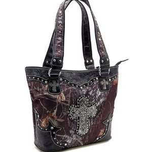 New Western Rhinestone Cross Handbag Purse Tote Bling