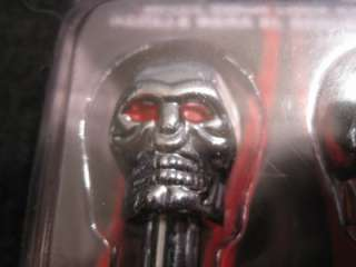 NEW PAIR CHROME METAL SKULL 2 DOOR LOCK KNOBS RED EYES