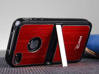 Red Aluminum TPU Hard Case Cover W/Chrome Stand For iPhone 4 4G 4S