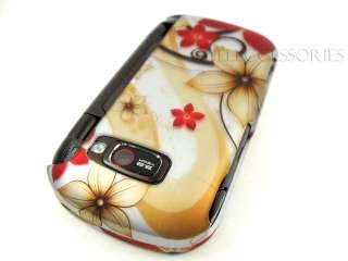 LG OCTANE VN530 VERIZON GOLD RED FLOWER HARD COVER CASE