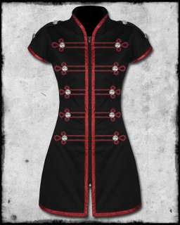 CRIMINAL DAMAGE BLACK WINE RED STEAMPUNK GOTH DRUMMER MILITARY PARADE