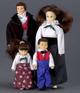 dollhouse MINI BRUNETTE FAMILY DOLL VICTORIAN PEOPLE 1