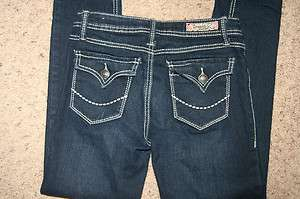 GIRLS SZ 12 DOMAINE SKINNY JEANS DARK DENIM BIG THREAD BACK FLAP