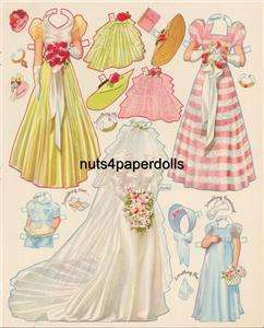 VINTAGE DOUBLE WEDDING PAPER DOLLS LAZER REPRO ORG SIZE