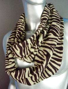 Exotic Brown Beige Zebra Print Infinity Circular Ring Fashion Scarf